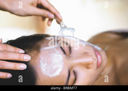 Woman having a facial, Kirana Spa, Indonesia - Stock Photo