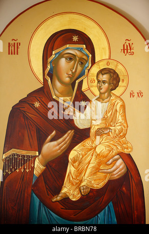 Icon of the Virgin and Child in Mary Magdalene Russian Orthodox church on Mount of Olives, Jerusalem, Israel - Stock Photo