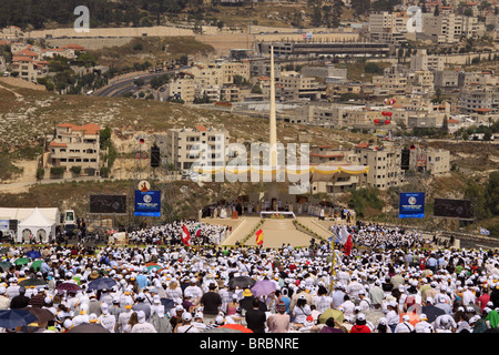 Pontifical Mass celebrated by His Holiness Pope Benedict XVI on the Mount of the Precipice in Nazareth, Galilee, - Stock Photo