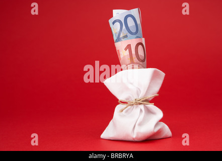 EURO banknotes in a bag, Berlin, Germany - Stock Photo