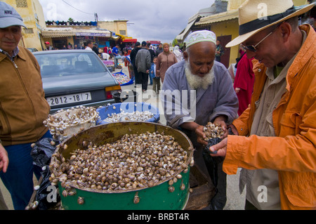 Man selling snails in the bazaar of Meknes, Morocco, North Africa - Stock Photo