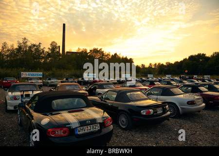 Mazda MX-5 cars parked at the 20th anniversary World Record corso event at Zeche Zollverein, Essen, Germany, September - Stock Photo
