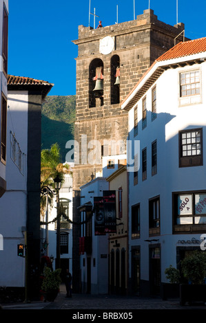 Pedestrian zone in the old town of Santa Cruz de la Palma, La Palma, Canary Islands, Spain - Stock Photo