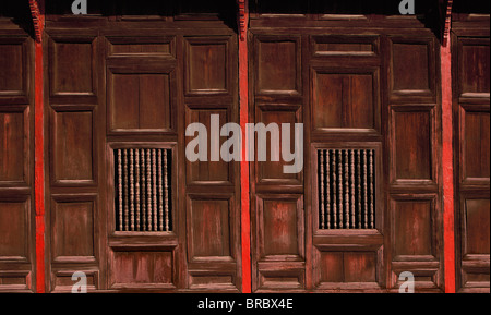 Wood panels, Wat Pantao, a classic example of Lanna (Northern Thai) architecture, Chiang Mai, Thailand - Stock Photo