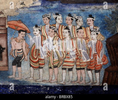 Detail of Thai Yai (Shan) men, part of the murals of the Sang Thong Tales, Viharn Laikam at Wat Phra Singh, Chiang - Stock Photo