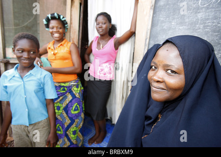 Muslim family, Lome, Togo, West Africa - Stock Photo