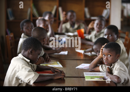School children in the library, Lome, Togo, West Africa
