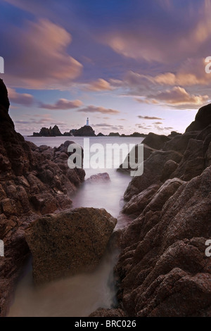 Corbiere Lighthouse, Jersey, Channel Islands, UK - Stock Photo