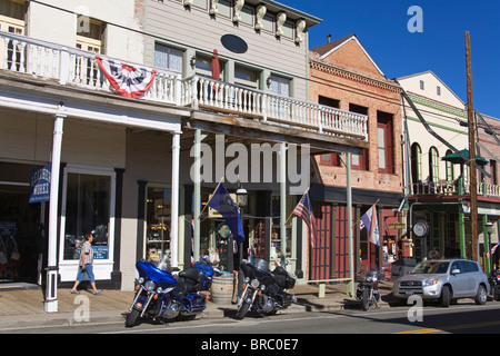 Historic downtown district in Virginia City, Nevada, USA - Stock Photo