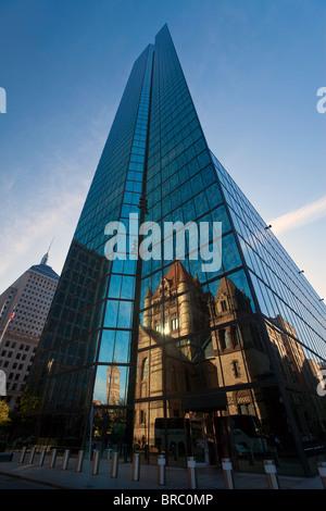 Trinity Church reflected in modern skyscraper, Boston, Massachusetts, New England, USA - Stock Photo