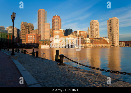 Skyline and inner harbour including Rowes Wharf at dawn, Boston, Massachusetts, New England, USA - Stock Photo