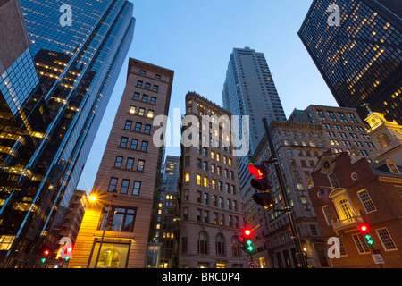 Downtown Financial District, Boston, Massachusetts, New England, USA - Stock Photo