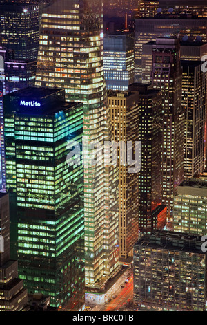 Elevated view of mid-town Manhattan, New York City, New York, USA - Stock Photo