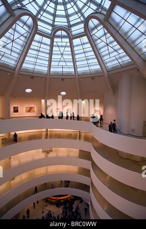 Interior of the Guggenheim Museum, New York City, New York, USA - Stock Photo