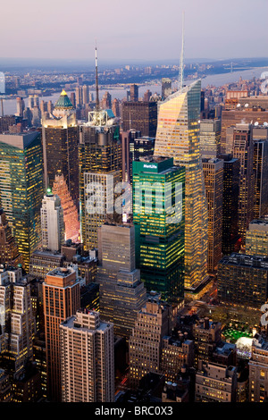 Elevated view of mid-town Manhattan, New York City, New York, Unitd States of America - Stock Photo