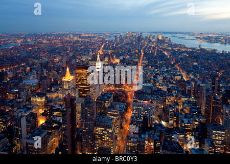 Elevated view of Mid-town Manhattan at dusk, New York City, New York, USA - Stock Photo