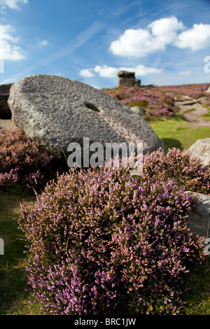 Mother Cap rock formation on Millstone Edge  in the Peak District National Park Derbyshire England United Kingdom - Stock Photo