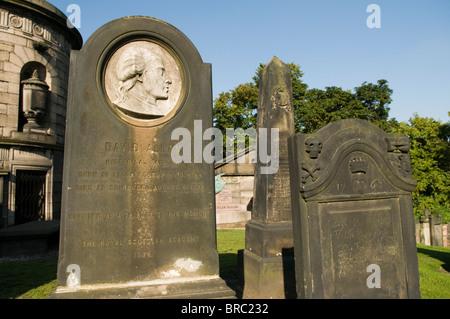 Memorial to David Allan (1744 - 1796) - Historical Painter, in the Calton Cemetery, Edinburgh. - Stock Photo