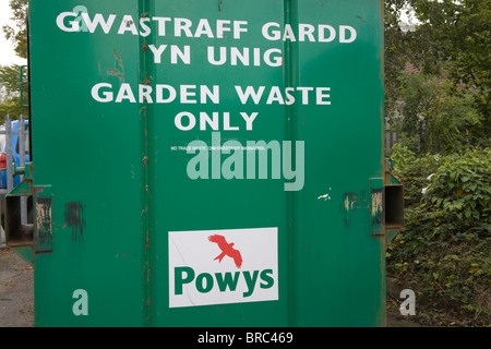 Powys Wales UK Container for recycling garden waste - Stock Photo