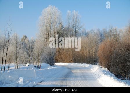 Small road in winter landscape - Stock Photo