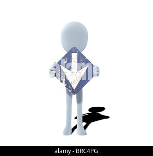 concept figure with sign down downwards downward - Stock Photo
