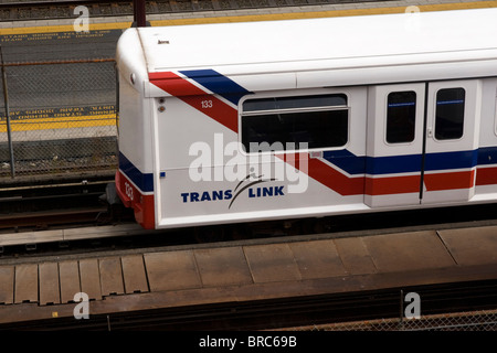 Translink skytrain rapid transit train downtown Vancouver BC Canada - Stock Photo
