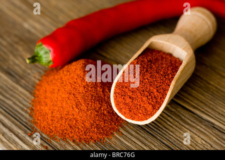 Red hot paprika powder on wooden spoon - Stock Photo