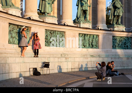 Millennium monument heros square Budapest Hungary - Stock Photo