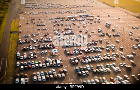 Aerial view of cars in parking lot, Sydney Airport, NSW, Australia - Stock Photo