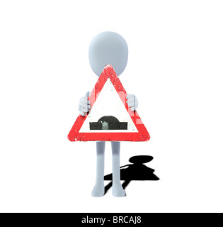 concept figure with sign uneven road - Stock Photo