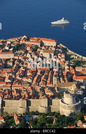 DUBROVNIK, CROATIA. A dawn view of the old walled town from the summit of Mount Srd. 2010. - Stock Photo