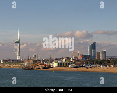 Southsea seafront Hampshire England UK looking toward Clarence Pier, Hovertravel Terminal and Spinnaker Tower of - Stock Photo