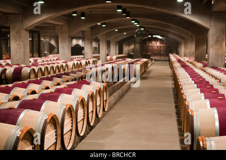French oak barrels in the aging cellar of the Robert Mondavi Vinery, Napa Valley, California, USA - Stock Photo