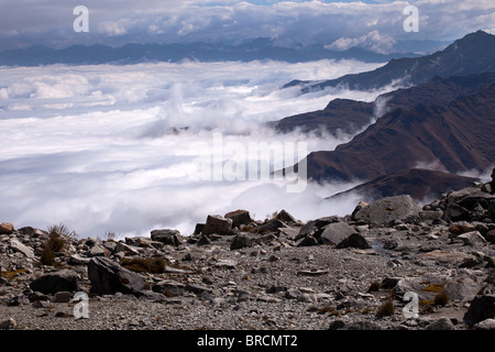 Cordillera Real: Laguna Glacial Trek: Above the Clouds - Stock Photo
