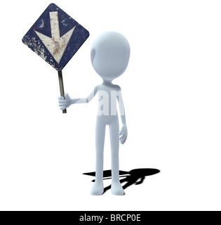 concept figure with sign prescribed direction down downwards - Stock Photo
