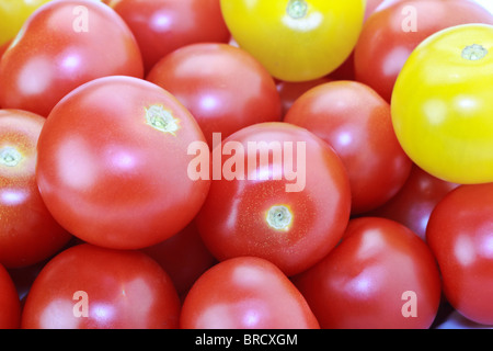 Fresh ripe red and yellow cocktail tomatoes isolated on white - Stock Photo