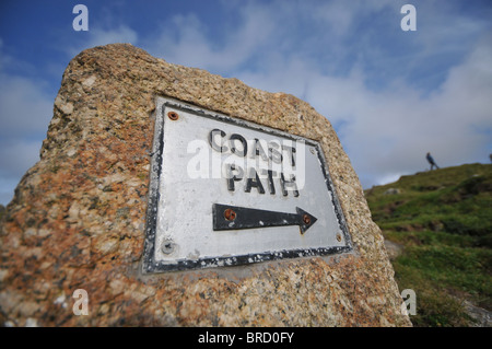 Coast path sign, Bosigran, West Penwith, Cornwall, England - Stock Photo