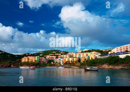 Sunset with Marriott Hotel. Charlotte Amalle. St. Thomas. US Virgin Islands - Stock Photo