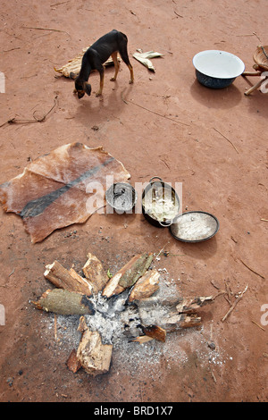 Food preparation by Baaka Pygmies, Dzanga Sangha Reserve, Central African Republic, Africa - Stock Photo