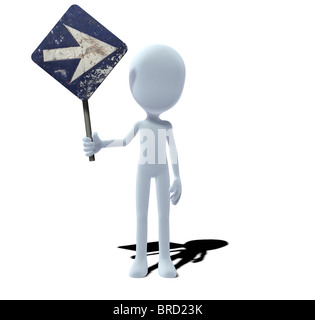 concept figure with sign prescribed direction right - Stock Photo