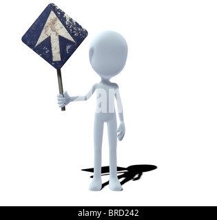 concept figure with sign prescribed direction - Stock Photo