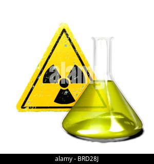 flask and radioactive warning sign - Stock Photo