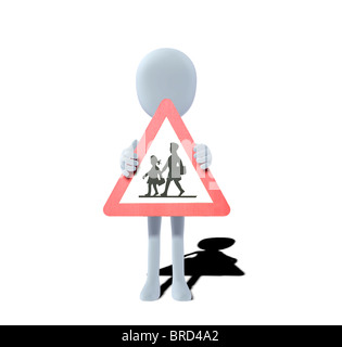 concept figure with warning sign children - Stock Photo