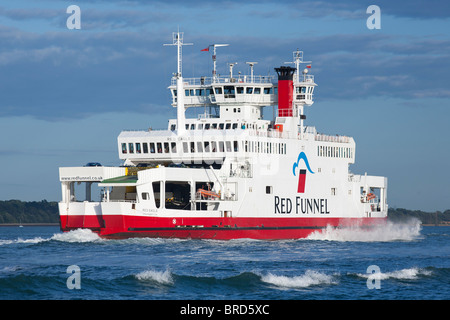 Isle of Wight Cowes Ferry Red Funnel - Stock Photo
