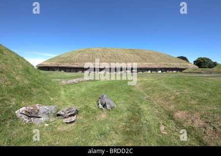 view of main mound, Knowth neolithic passage grave, Boyne Valley, Ireland - Stock Photo