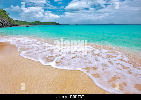 Trunk Beach with wave. St. John Island. US Virgin Islands. Virgin Islands National Park. - Stock Photo