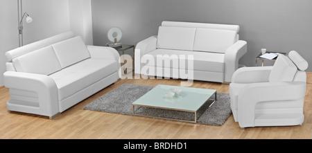 Studio shot of white furniture - Stock Photo