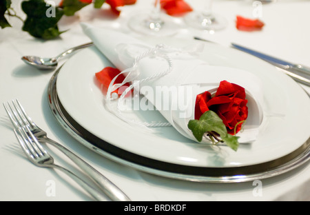 Covered banquet with festive decorations - Stock Photo