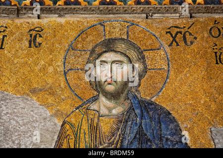 The Deisis mosaic depicting Jesus Christ, Hagia Sohpia Museum, Istanbul, Turkey - Stock Photo