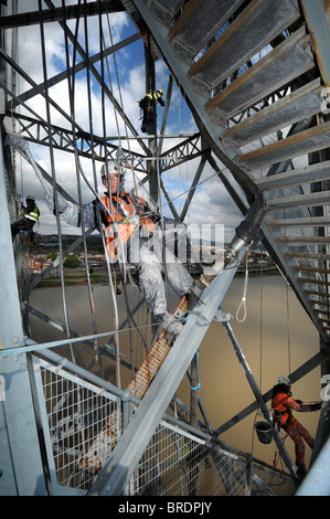 Refurbishment of the Newport Transporter Bridge in S Wales. The crossing which spans the River Usk was built 1902 - Stock Photo